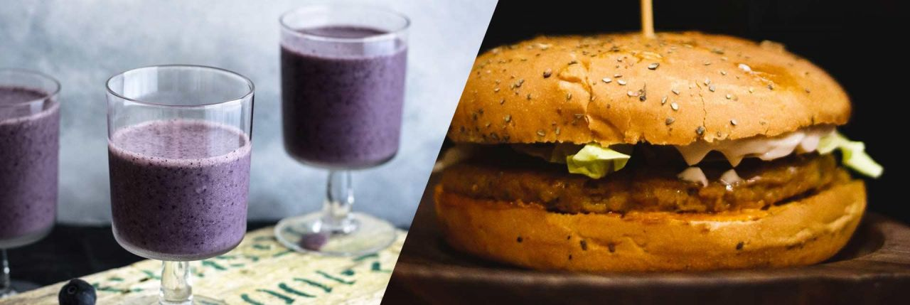 A healthy oatmeal Burger matches up with Soy Smoothie